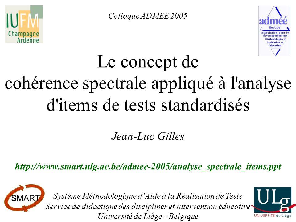 Colloque ADMEE 2005 – Le concept de cohérence spectrale appliqué à lanalyse ditems de tests standardisés – Jean-Luc Gilles22 Vocabulaire (VOC) – 45 QCM Syntaxe et articulation logique (SYN) – 12 QCM Compréhension de texte (COM) – 6 QCM Lecture de documents en géographie (GEO) – 10 QCM Mathématiques (MAT) – 22 QCM Physique (PHY) – 10 QCM Chimie (CHE) – 8 QCM Biologie (BIO) – 10 QCM Connaissances artistiques (ART) – 25 QCM Connaissances en histoire et Socio-économie (HIS) – 25 QCM Banque de questions du projet MOHICAN :