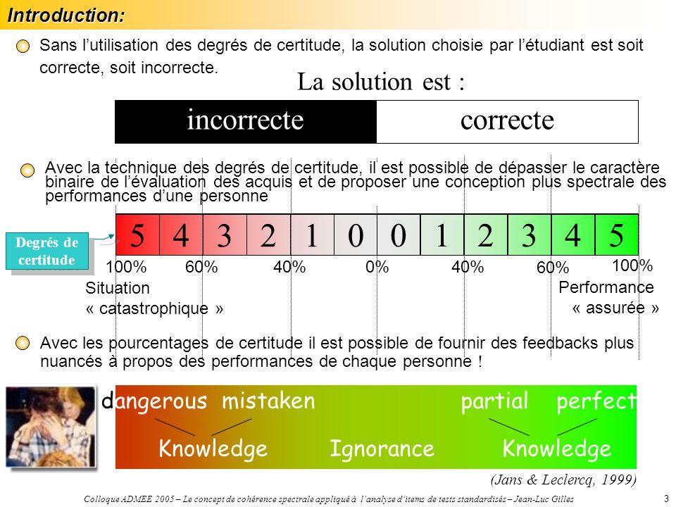 Colloque ADMEE 2005 – Le concept de cohérence spectrale appliqué à lanalyse ditems de tests standardisés – Jean-Luc Gilles3 Sans lutilisation des degrés de certitude, la solution choisie par létudiant est soit correcte, soit incorrecte.
