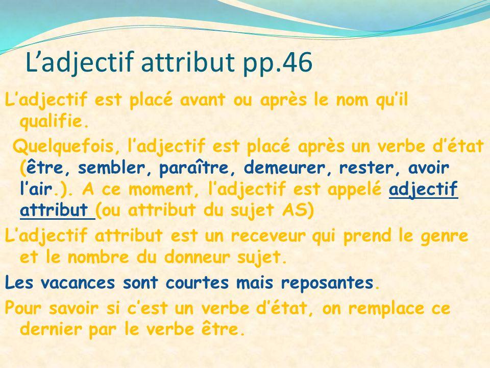 Ladjectif attribut pp.46 Ladjectif est placé avant ou après le nom quil qualifie. Quelquefois, ladjectif est placé après un verbe détat (être, sembler