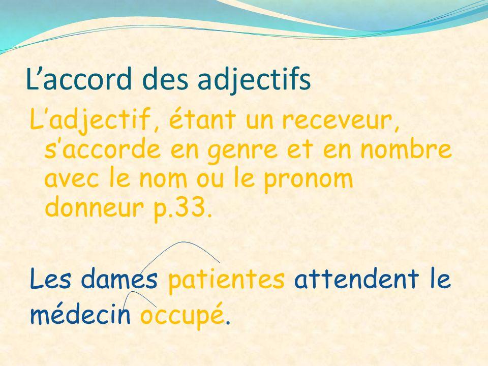 Laccord des adjectifs Ladjectif, étant un receveur, saccorde en genre et en nombre avec le nom ou le pronom donneur p.33. Les dames patientes attenden