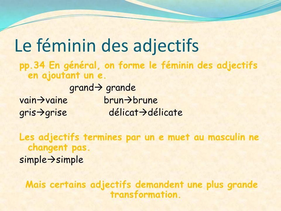 Le féminin des adjectifs pp.34 En général, on forme le féminin des adjectifs en ajoutant un e. grand grande vain vaine brun brune gris grise délicat d