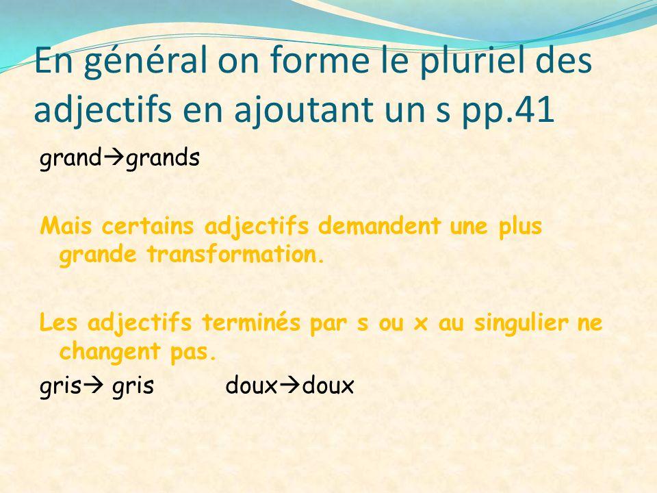 En général on forme le pluriel des adjectifs en ajoutant un s pp.41 grand grands Mais certains adjectifs demandent une plus grande transformation. Les