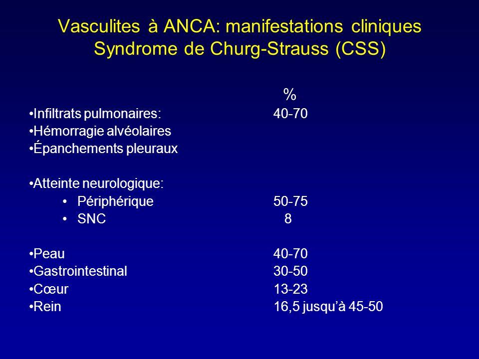 Vasculites à ANCA: manifestations cliniques Syndrome de Churg-Strauss (CSS) % Infiltrats pulmonaires:40-70 Hémorragie alvéolaires Épanchements pleuraux Atteinte neurologique: Périphérique50-75 SNC 8 Peau40-70 Gastrointestinal30-50 Cœur13-23 Rein16,5 jusquà 45-50