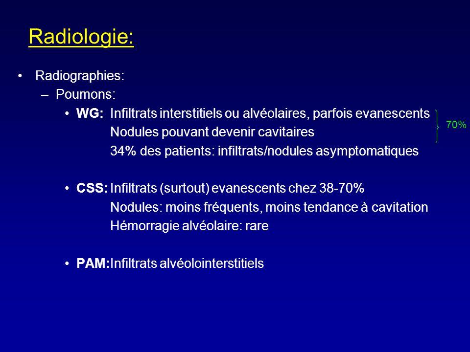 Radiologie: Radiographies: –Poumons: WG: Infiltrats interstitiels ou alvéolaires, parfois evanescents Nodules pouvant devenir cavitaires 34% des patients: infiltrats/nodules asymptomatiques CSS:Infiltrats (surtout) evanescents chez 38-70% Nodules: moins fréquents, moins tendance à cavitation Hémorragie alvéolaire: rare PAM:Infiltrats alvéolointerstitiels 70%