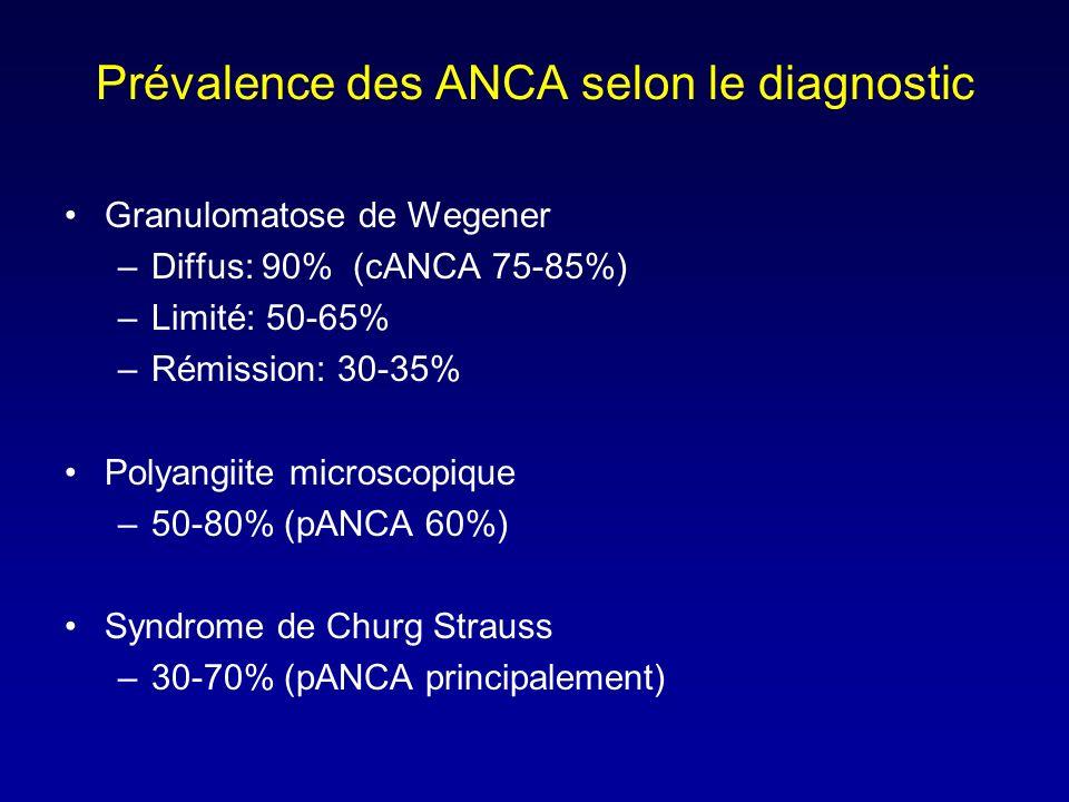 Prévalence des ANCA selon le diagnostic Granulomatose de Wegener –Diffus: 90% (cANCA 75-85%) –Limité: 50-65% –Rémission: 30-35% Polyangiite microscopique –50-80% (pANCA 60%) Syndrome de Churg Strauss –30-70% (pANCA principalement)