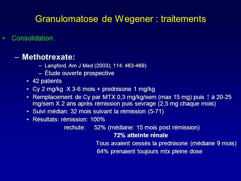 Granulomatose de Wegener : traitements Consolidation: –Methotrexate: –Langford.