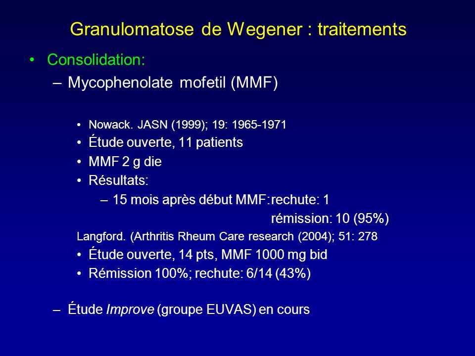 Granulomatose de Wegener : traitements Consolidation: –Mycophenolate mofetil (MMF) Nowack.