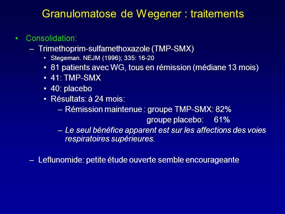 Granulomatose de Wegener : traitements Consolidation: –Trimethoprim-sulfamethoxazole (TMP-SMX) Stegeman.