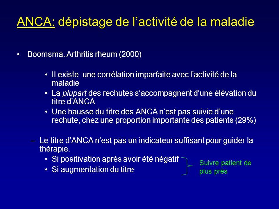 ANCA: dépistage de lactivité de la maladie Boomsma.