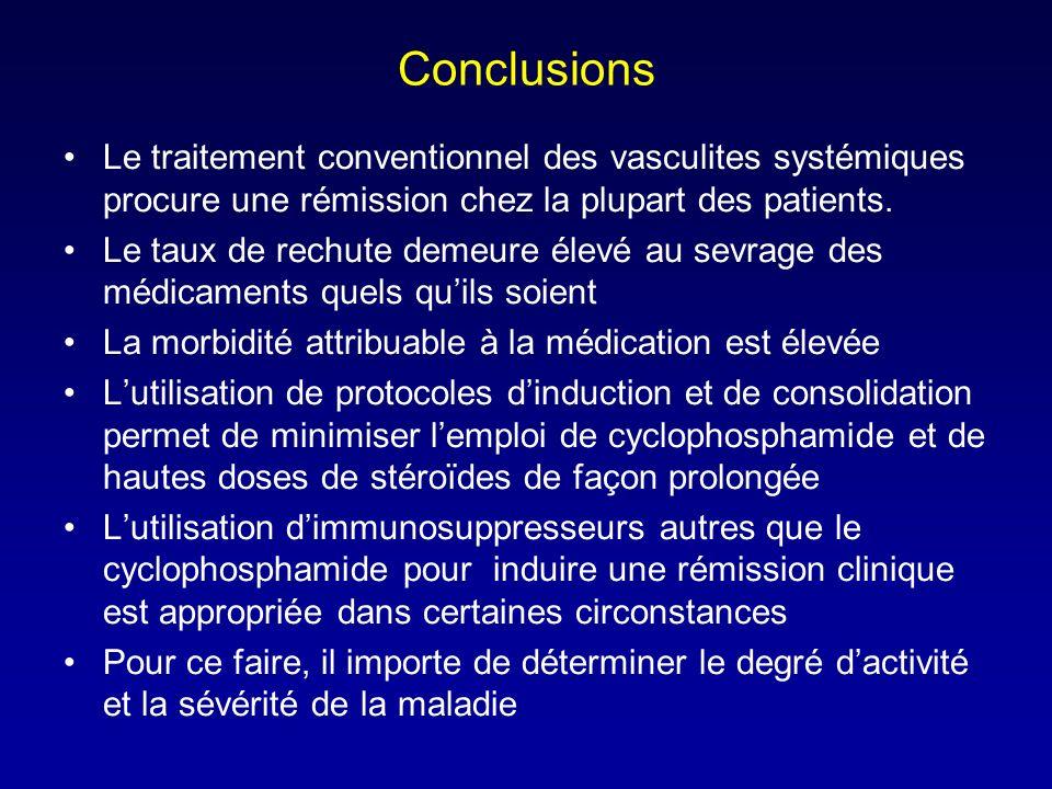 Conclusions Le traitement conventionnel des vasculites systémiques procure une rémission chez la plupart des patients.