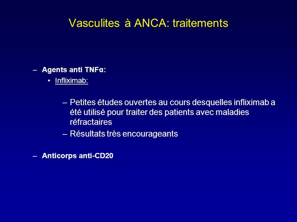 Vasculites à ANCA: traitements –Agents anti TNFα: Infliximab: –Petites études ouvertes au cours desquelles infliximab a été utilisé pour traiter des patients avec maladies réfractaires –Résultats très encourageants –Anticorps anti-CD20