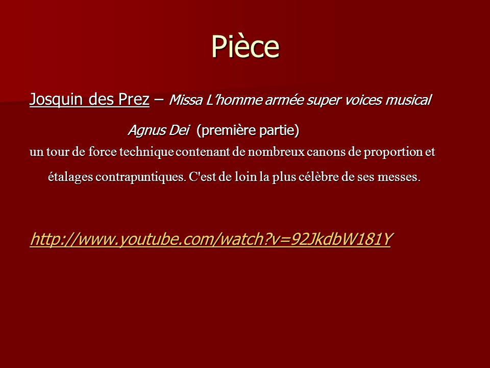Pièce Josquin des Prez – Missa Lhomme armée super voices musical Agnus Dei (première partie) un tour de force technique contenant de nombreux canons d