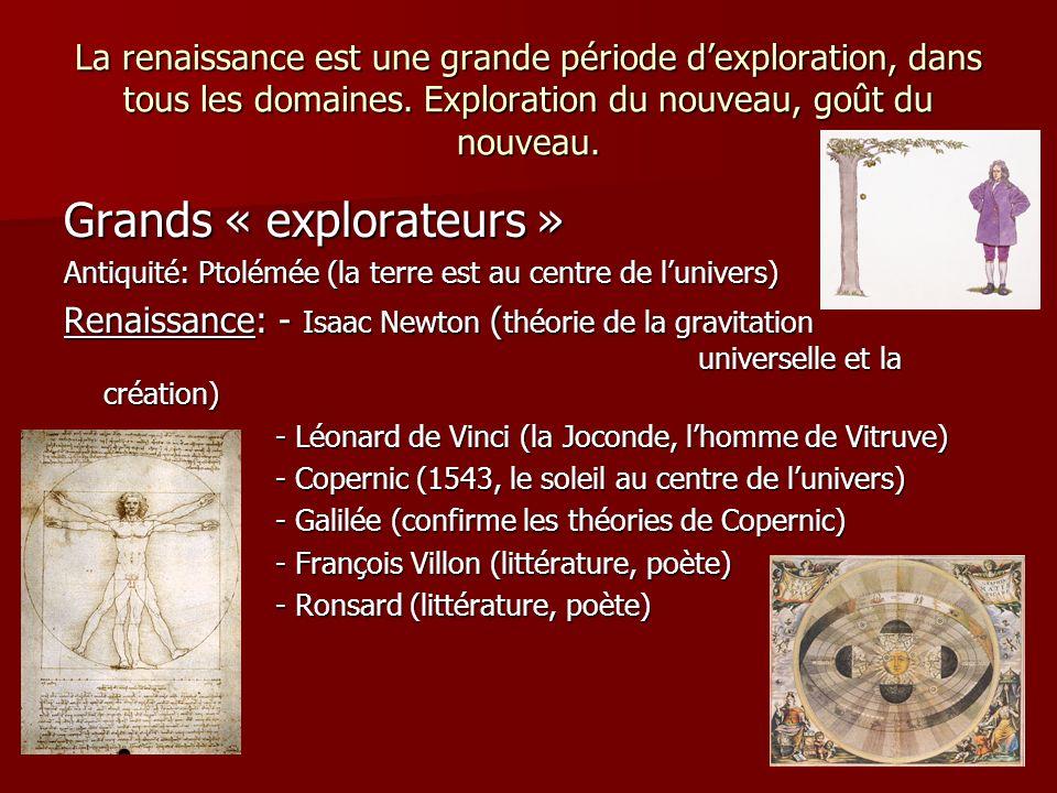 La renaissance est une grande période dexploration, dans tous les domaines. Exploration du nouveau, goût du nouveau. Grands « explorateurs » Antiquité
