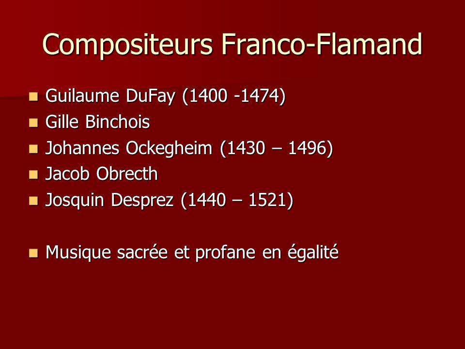 Compositeurs Franco-Flamand Guilaume DuFay (1400 -1474) Guilaume DuFay (1400 -1474) Gille Binchois Gille Binchois Johannes Ockegheim (1430 – 1496) Johannes Ockegheim (1430 – 1496) Jacob Obrecth Jacob Obrecth Josquin Desprez (1440 – 1521) Josquin Desprez (1440 – 1521) Musique sacrée et profane en égalité Musique sacrée et profane en égalité