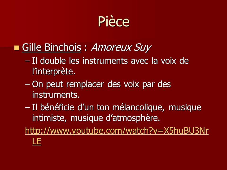 Pièce Gille Binchois : Amoreux Suy Gille Binchois : Amoreux Suy –Il double les instruments avec la voix de linterprète. –On peut remplacer des voix pa