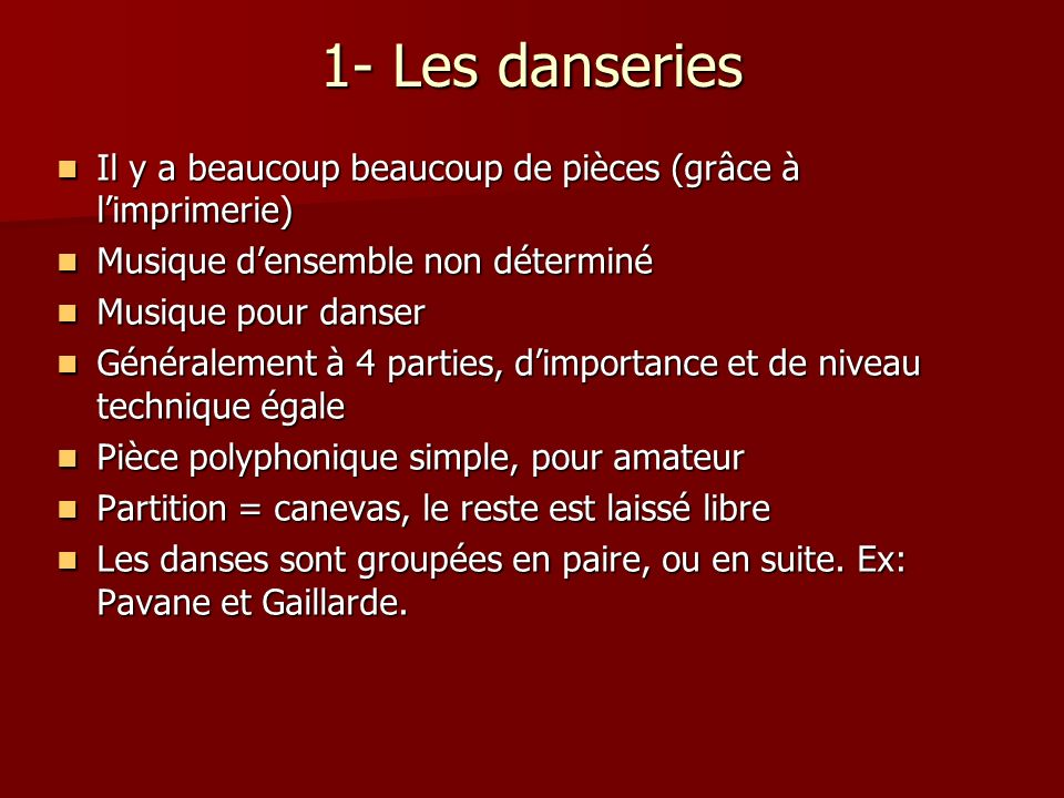 Pièce Danse espagnole de Pedro Guerrero Danse espagnole de Pedro Guerrero –Danse à 5 temps –2 ième moitié du XVI e siècle –Le tambour donne le premier temps http://www.youtube.com/watch?v=hrJley QwqV0 http://www.youtube.com/watch?v=hrJley QwqV0 http://www.youtube.com/watch?v=hrJley QwqV0 http://www.youtube.com/watch?v=hrJley QwqV0