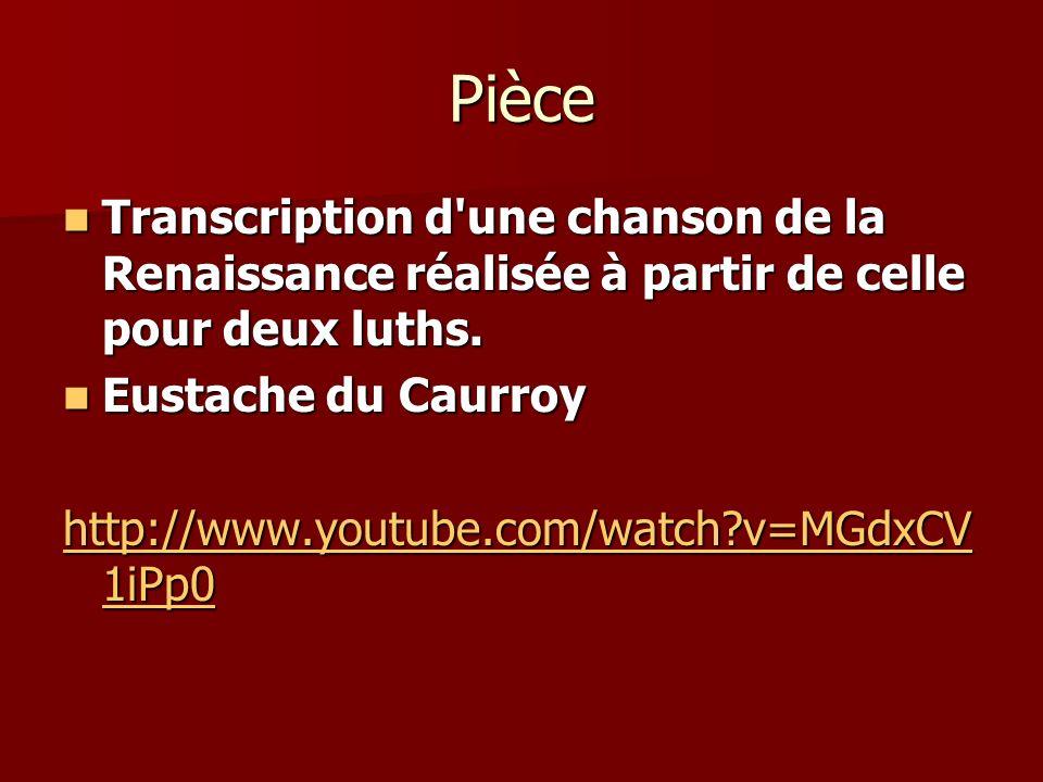 Pièce Transcription d'une chanson de la Renaissance réalisée à partir de celle pour deux luths. Transcription d'une chanson de la Renaissance réalisée