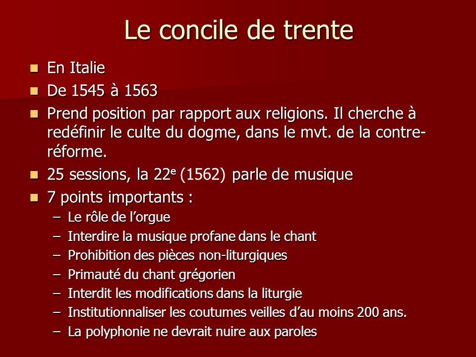 Le concile de trente En Italie En Italie De 1545 à 1563 De 1545 à 1563 Prend position par rapport aux religions. Il cherche à redéfinir le culte du do