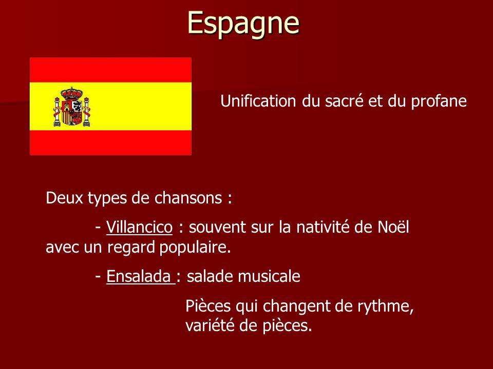 Espagne Deux types de chansons : - Villancico : souvent sur la nativité de Noël avec un regard populaire. - Ensalada : salade musicale Pièces qui chan