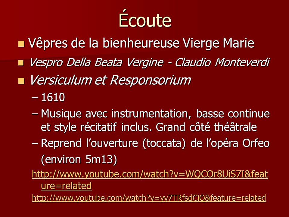 Écoute Vêpres de la bienheureuse Vierge Marie Vêpres de la bienheureuse Vierge Marie Vespro Della Beata Vergine - Claudio Monteverdi Vespro Della Beat