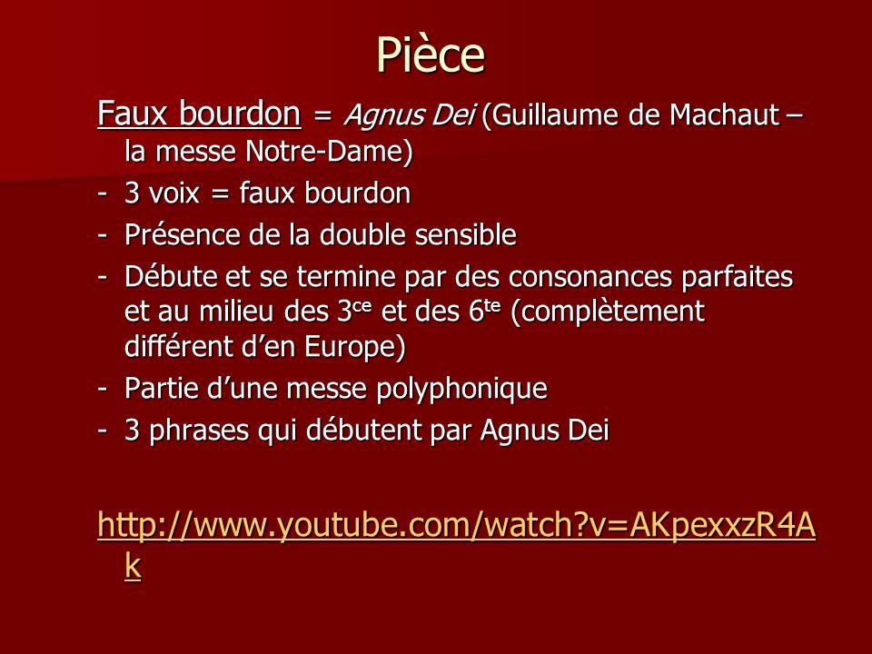 Pièce Faux bourdon = Agnus Dei (Guillaume de Machaut – la messe Notre-Dame) -3 voix = faux bourdon -Présence de la double sensible -Débute et se termine par des consonances parfaites et au milieu des 3 ce et des 6 te (complètement différent den Europe) -Partie dune messe polyphonique -3 phrases qui débutent par Agnus Dei http://www.youtube.com/watch?v=AKpexxzR4A k http://www.youtube.com/watch?v=AKpexxzR4A k
