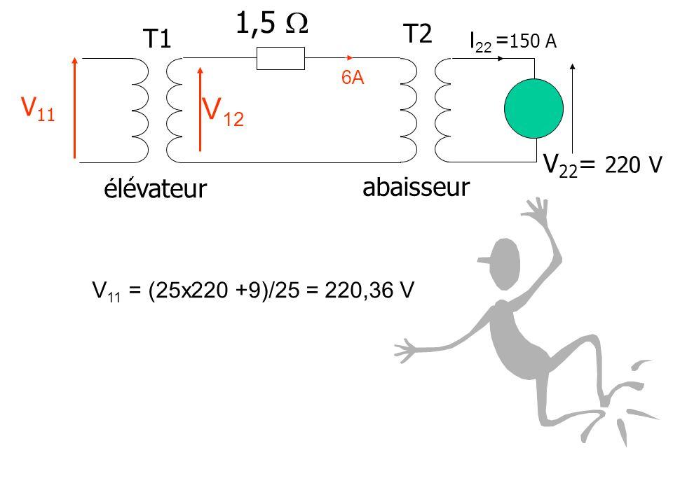 élévateur abaisseur V 22 = 220 V I 22 = 150 A 1,5 T1 T2 V=? 6A V 12 V 12 = (25x220 + 9) = 5509 V