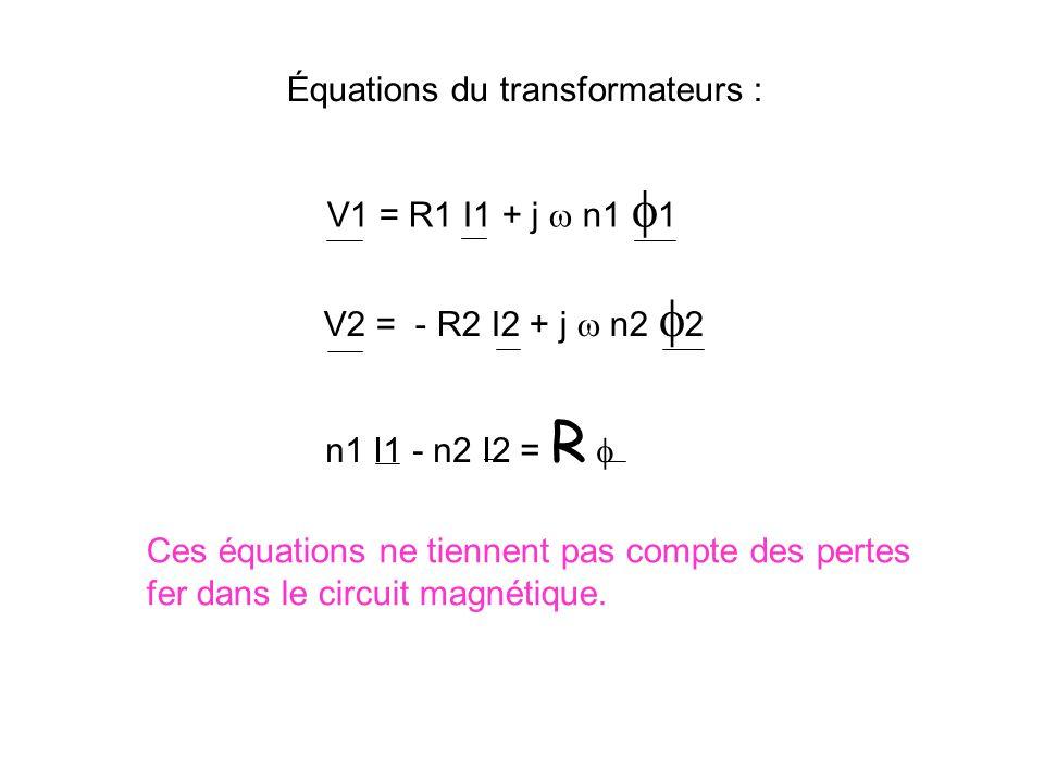 Équations du transformateurs : équation de maille du primaire : V1 = R1 I1 + j n1 1 équation de maille du secondaire : j n2 2 = R2 I2 + V2 n1 I1 - n2 I2 = R Relation d Hopkinson