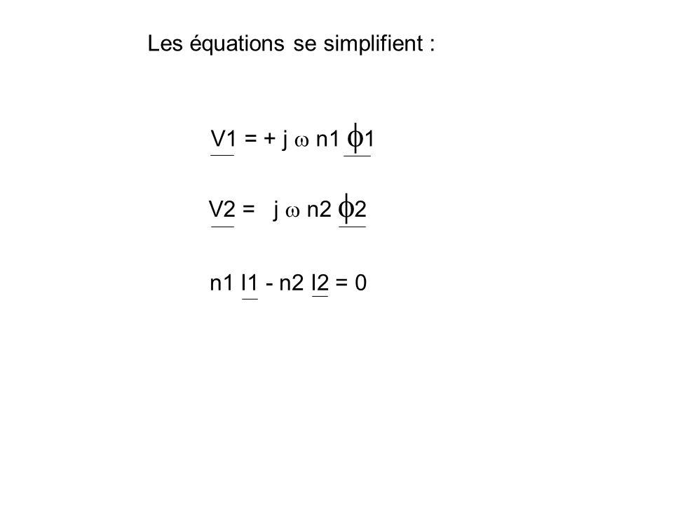 Le transformateur parfait : n a pas de fuites magnétiques : l 1 = l 2 = 0 n a pas de pertes Joule : R1 = R2 = 0 n a pas de pertes fer possède un circuit magnétique infiniment perméable : R = 0
