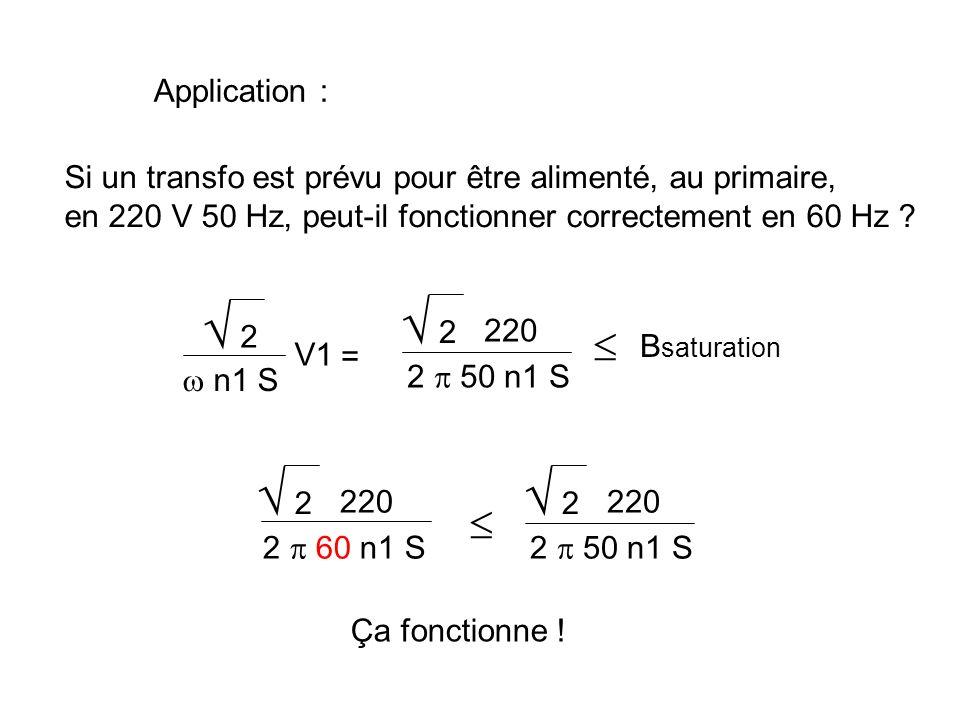 V1 = + j n1 1 = V1 n1 Le flux est lié à la tension d alimentation V1 Si la section du circuit magnétique est S, Beff = S = Bmax 2 Bmax = 2 n1 S V1 B saturation