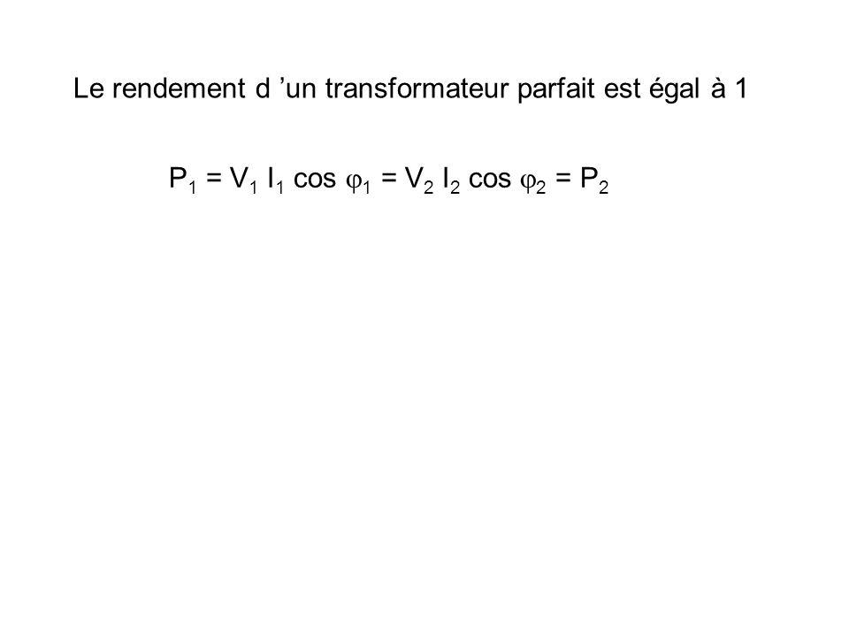 V2 V1 n2 n1 I1 I2 La phase de V2 et de V1 ou de I1 et I2 est la même. A1 e j t + 1 A2 e j t + 2 = réel 1 = 2