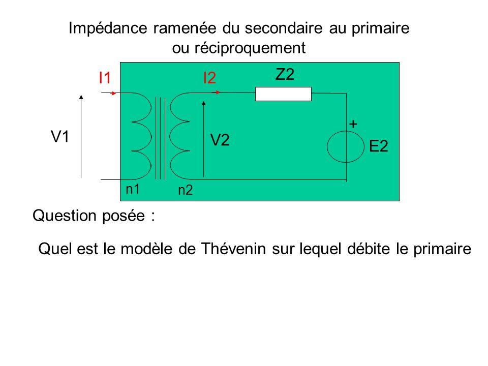Le rendement d un transformateur parfait est égal à 1 P 1 = V 1 I 1 cos 1 = V 2 I 2 cos 2 = P 2