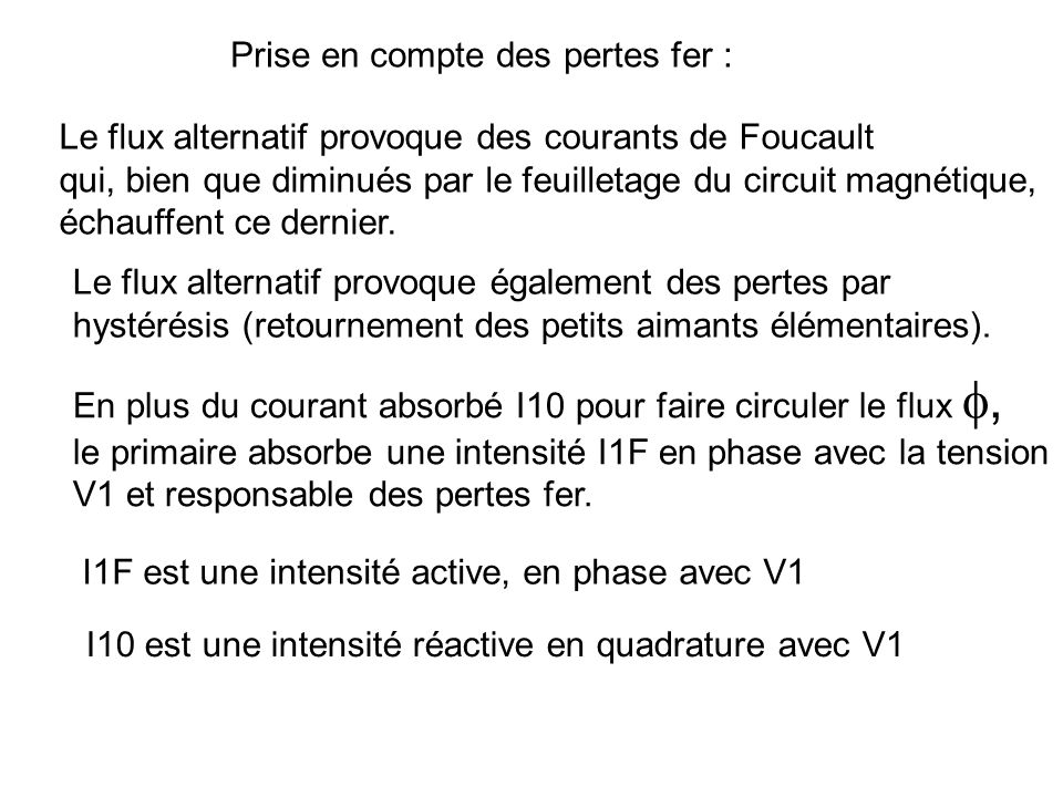 Diagramme de Fresnel : V1 I10 V2 I2 2 I1 1