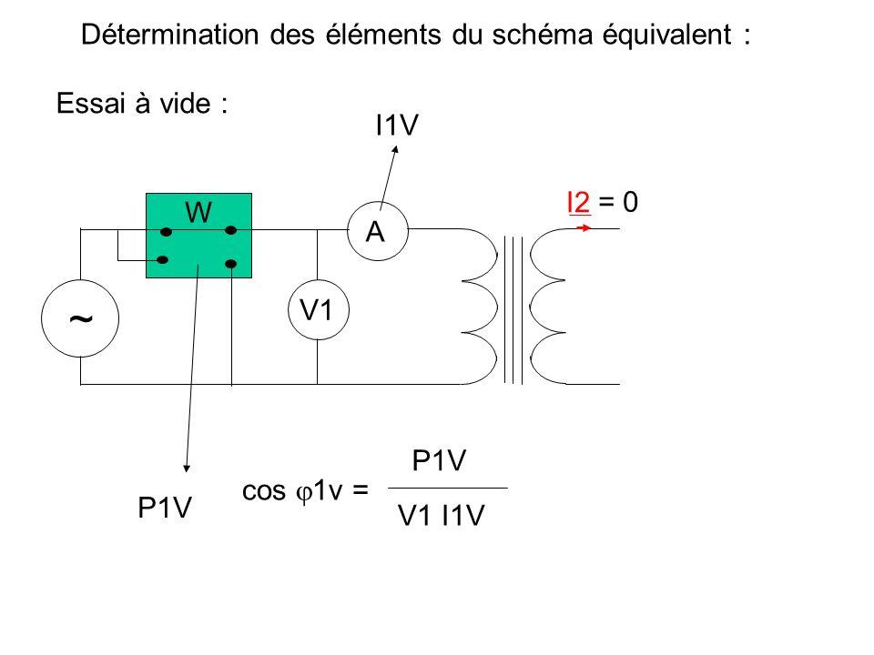 Détermination des éléments du schéma équivalent : Essai à vide : ~ A V1 V2 I2 = 0 V2 V1 = n2 n1