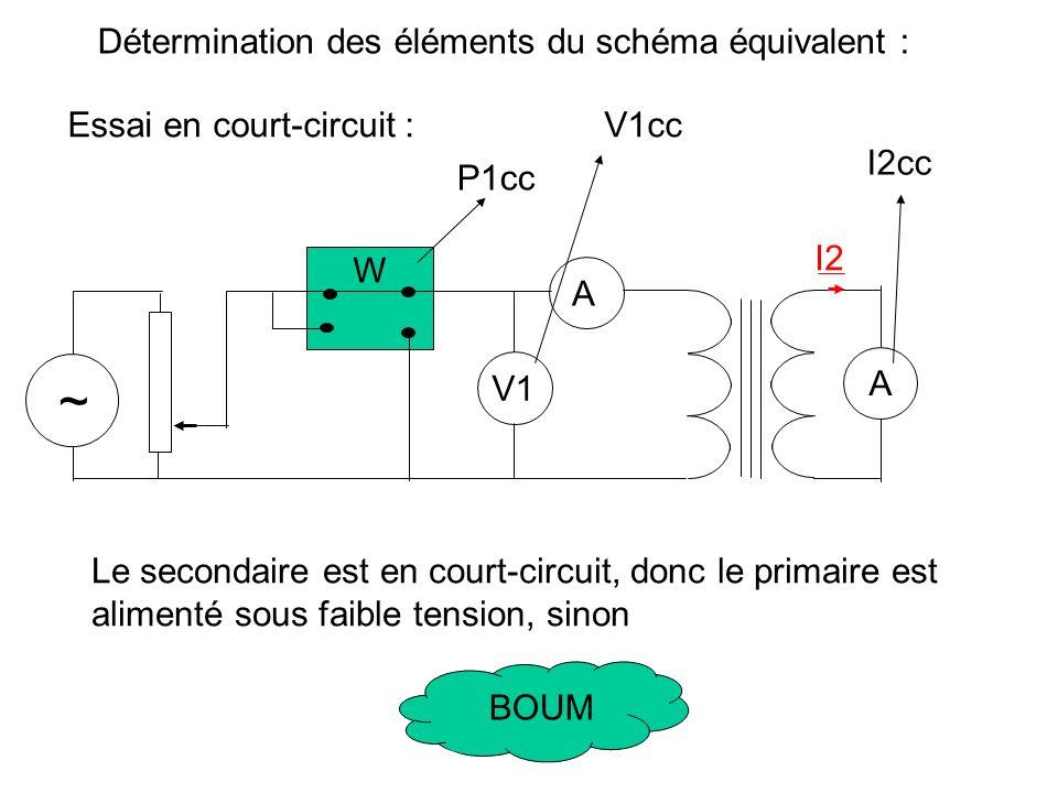 Détermination des éléments du schéma équivalent : Essai à vide : I1F = I1V cos 1v I10 = I1V sin 1v I1 très faible, on considère que les pertes cuivres sont nulles.