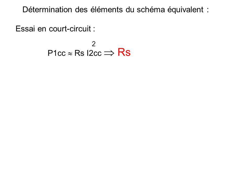 V1 très faible, on considère que les pertes fer sont nulles. ~ A I2 W V1 A Détermination des éléments du schéma équivalent : Essai en court-circuit :