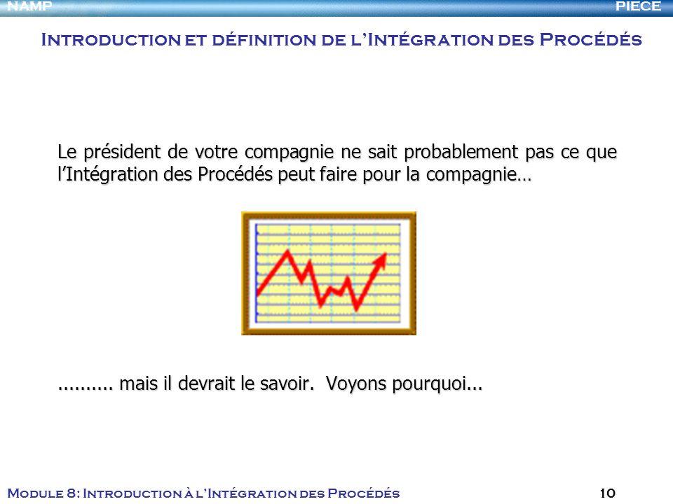 PIECENAMP Module 8: Introduction à lIntégration des Procédés 10 Le président de votre compagnie ne sait probablement pas ce que lIntégration des Procé