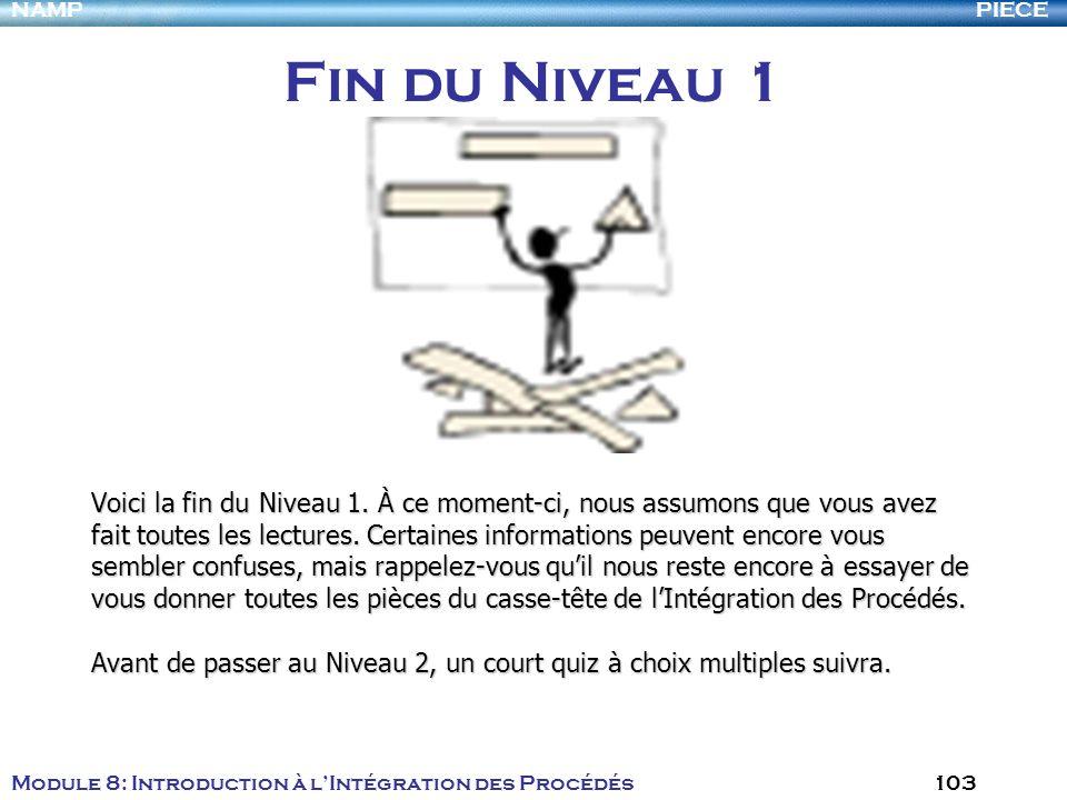PIECENAMP Module 8: Introduction à lIntégration des Procédés 103 Fin du Niveau 1 Voici la fin du Niveau 1. À ce moment-ci, nous assumons que vous avez