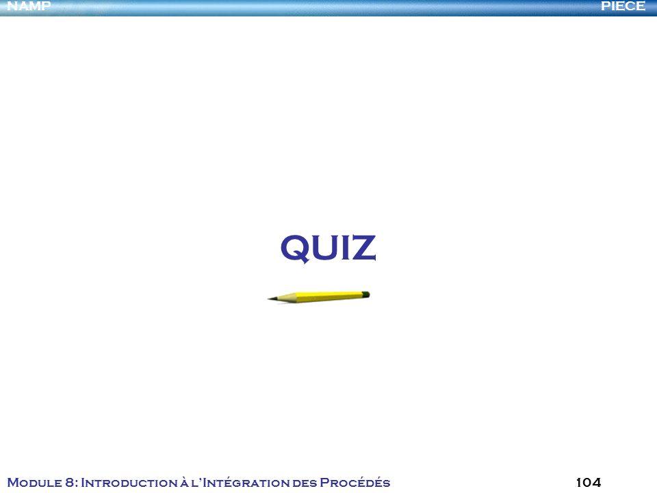 PIECENAMP Module 8: Introduction à lIntégration des Procédés 104 QUIZ