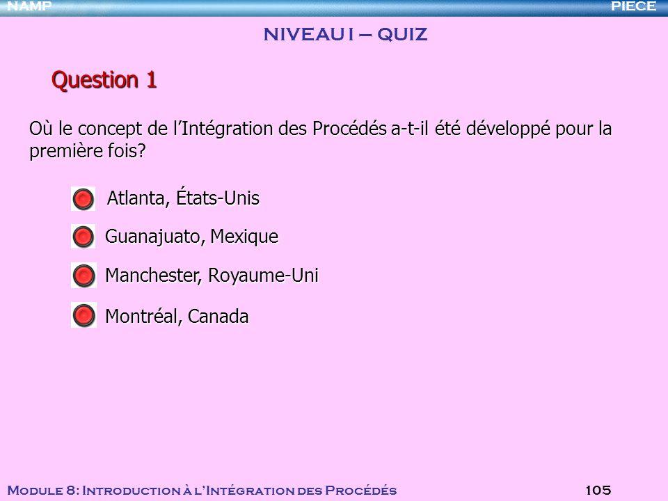 PIECENAMP Module 8: Introduction à lIntégration des Procédés 105 NIVEAU I – QUIZ Où le concept de lIntégration des Procédés a-t-il été développé pour