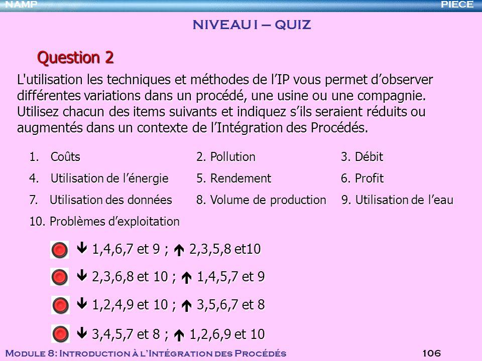 PIECENAMP Module 8: Introduction à lIntégration des Procédés 106 Question 2 1. Coûts 2. Pollution 3. Débit 4. Utilisation de lénergie 5. Rendement 6.