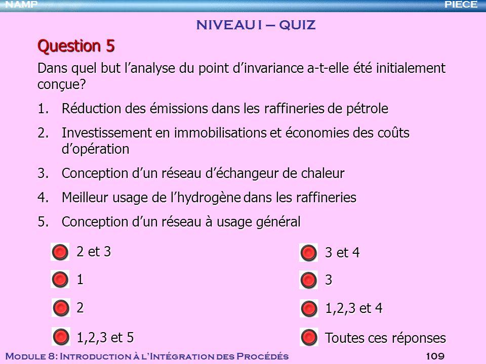PIECENAMP Module 8: Introduction à lIntégration des Procédés 109 Question 5 1.Réduction des émissions dans les raffineries de pétrole 2.Investissement