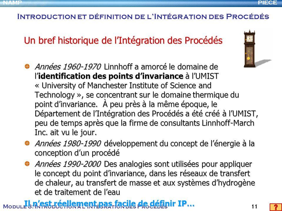 PIECENAMP Module 8: Introduction à lIntégration des Procédés 11 Années 1960-1970 Linnhoff a amorcé le domaine de lidentification des points dinvarianc
