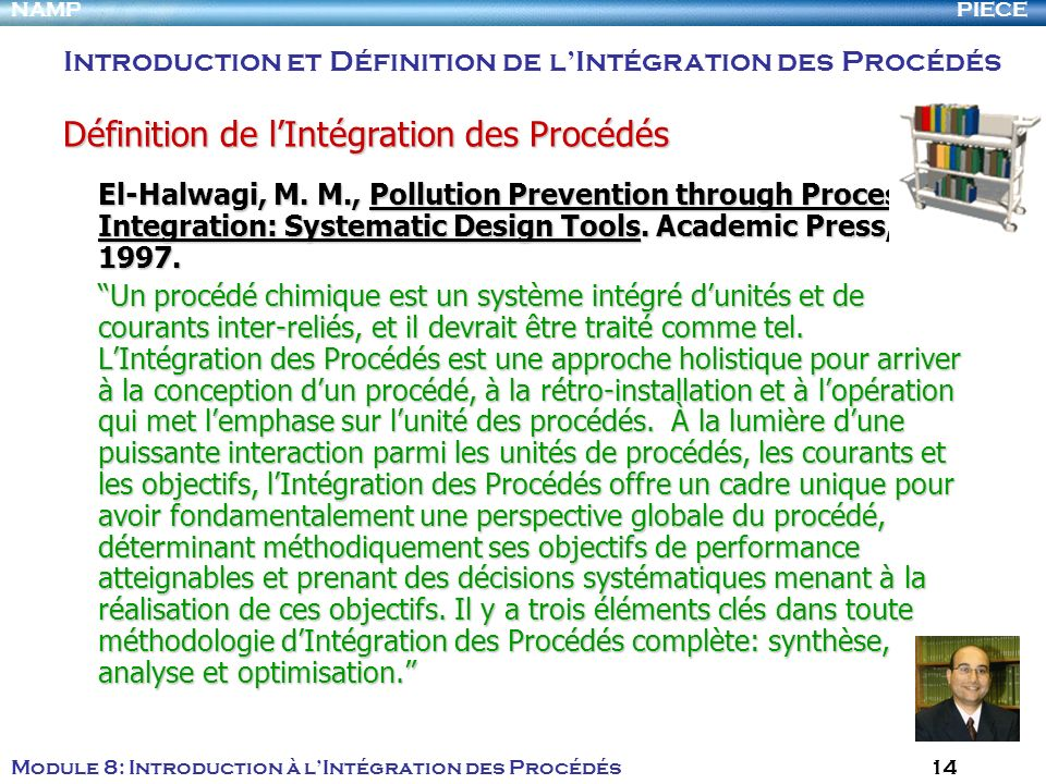 PIECENAMP Module 8: Introduction à lIntégration des Procédés 14 El-Halwagi, M. M., Pollution Prevention through Process Integration: Systematic Design