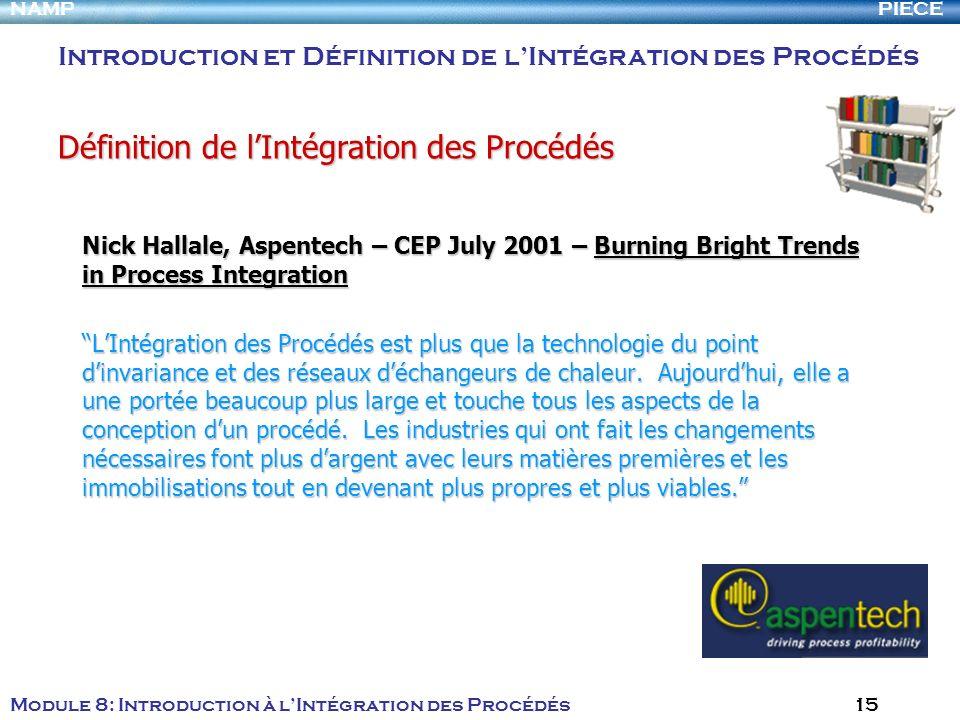 PIECENAMP Module 8: Introduction à lIntégration des Procédés 15 Nick Hallale, Aspentech – CEP July 2001 – Burning Bright Trends in Process Integration