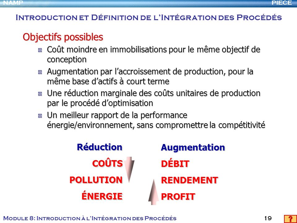 PIECENAMP Module 8: Introduction à lIntégration des Procédés 19 Objectifs possibles Coût moindre en immobilisations pour le même objectif de conceptio
