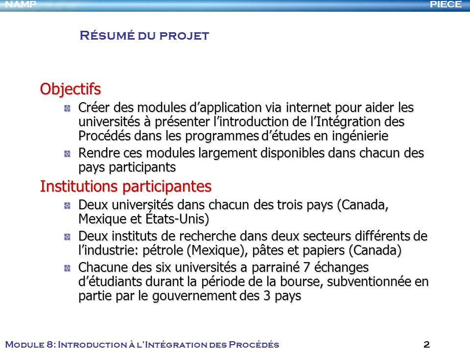 PIECENAMP Module 8: Introduction à lIntégration des Procédés 2 Résumé du projet Objectifs Créer des modules dapplication via internet pour aider les u