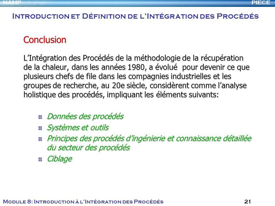 PIECENAMP Module 8: Introduction à lIntégration des Procédés 21 LIntégration des Procédés de la méthodologie de la récupération de la chaleur, dans le