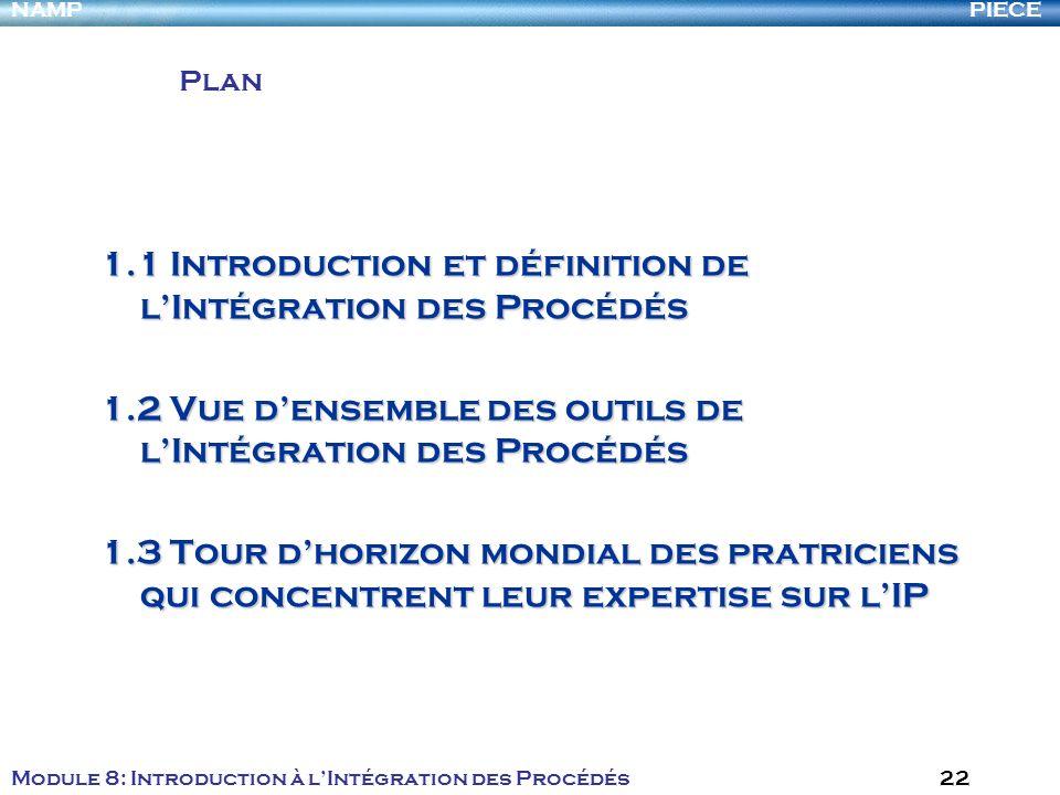PIECENAMP Module 8: Introduction à lIntégration des Procédés 22 1.1 Introduction et définition de lIntégration des Procédés 1.2 Vue densemble des outi