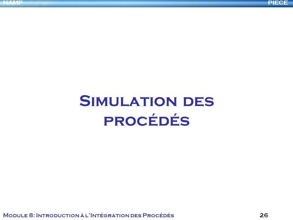 PIECENAMP Module 8: Introduction à lIntégration des Procédés 26 Simulation des procédés