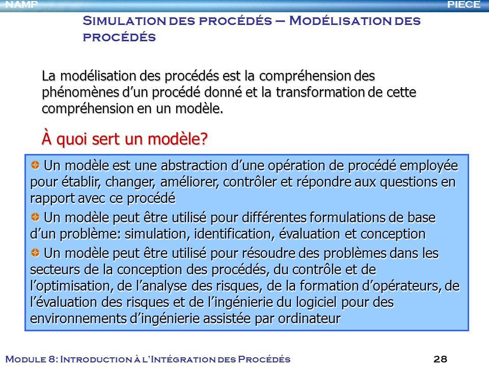 PIECENAMP Module 8: Introduction à lIntégration des Procédés 28 Simulation des procédés – Modélisation des procédés À quoi sert un modèle? Un modèle e